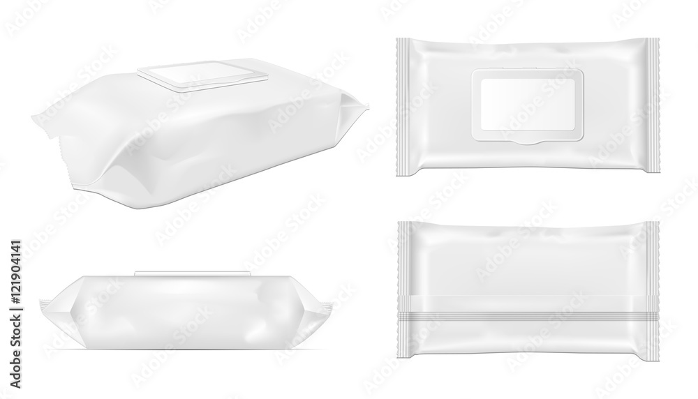Fototapety, obrazy: White wet wipes package with flap