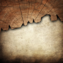 Paper With Cracked Wood Background