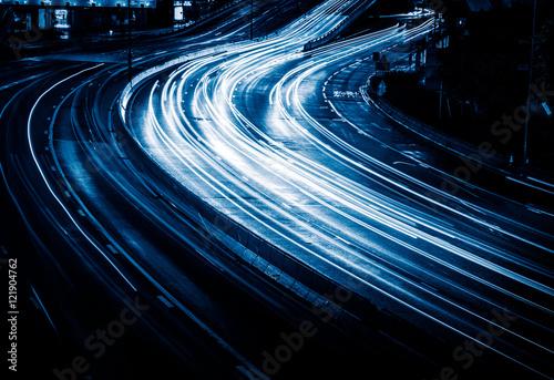 high angle view of busy urban traffic,blue toned,hong kong,china. #121904762