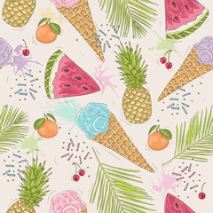 Tapeta Cute seamless pattern with ice creams, pineapples. Vector backgr