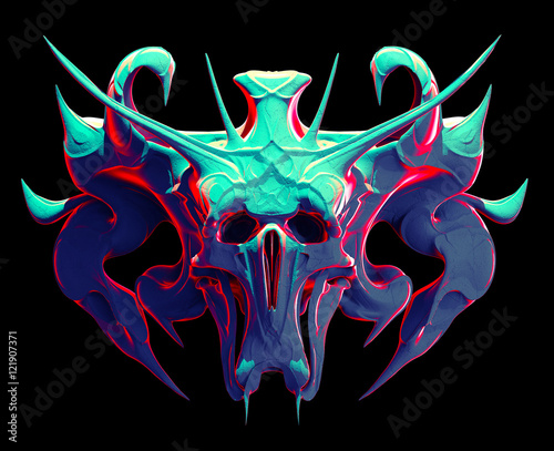 Monster skull design on a black background for Halloween Canvas Print