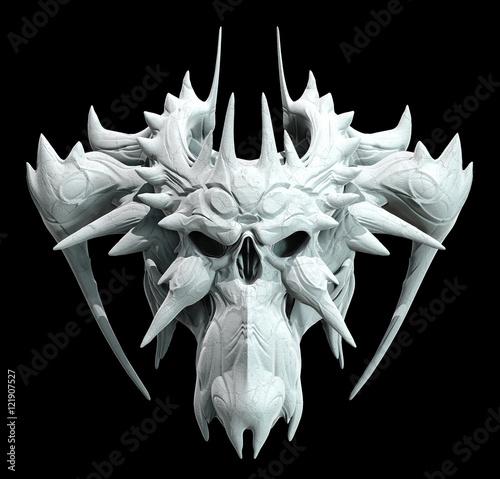 Monster skull design on a black background for Halloween Canvas Print
