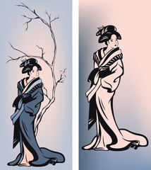 Naklejka Japoński winter season design - japanese geisha and tree branch