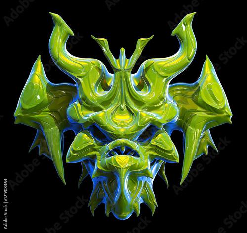 Photo  Monster skull design on a black background for Halloween