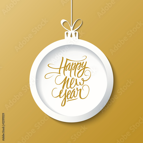 Creative Happy New Year greetings text design with christmas ball ...