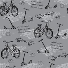 Tapeta illustration of seamless pattern of hand drawn baby bike, skateb