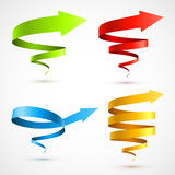 Set of colorful spiral arrows