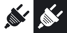 Vector Electric Plug Icon. Two...