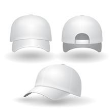 Realistic White Baseball Cap S...