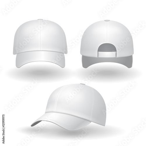 Fotografia  Realistic white baseball cap set