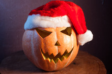 Jack-o ' - Lantern In A Red Santa Hat,
