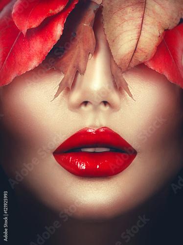 Poster - Autumn woman fashion portrait. Fall. Fashion art makeup