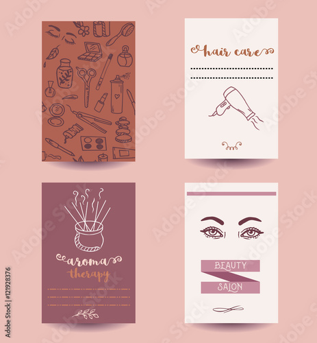 Aroma Therapy Business Card Beauty Salon Banner Hair Care Flyer Advertisement Templates For Beauty Services Collection With Hand Drawn Line Art Artistic Illustrations And Drawings Buy This Stock Vector And Explore