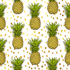 Fototapetapineapple tropical vector seamless pattern and gold dots background. textile print fashion seamless illustration . print in the style retro of 80's.