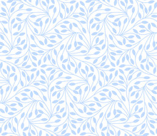Seamless Leaves Pattern On Whi...