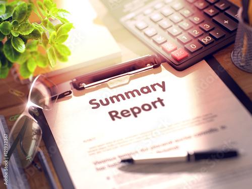 Valokuva  Summary Report - Text on Clipboard. 3D.