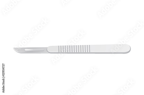 Foto Scalpel blade isolated on white background. Vector object.