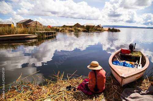 Uros island in Lake Titicaca, Peru Canvas Print