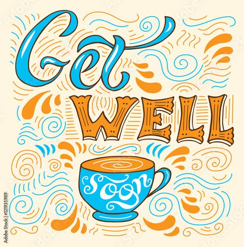 Valokuva  Get well soon - card with cup