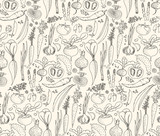 Hand-drawn seamless doodles pattern with different vegetables: tomato, onion, beet, cucumber etc. Harvest repeated background. Line art