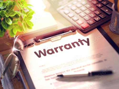Fotografía  Clipboard with Warranty Concept. 3D.