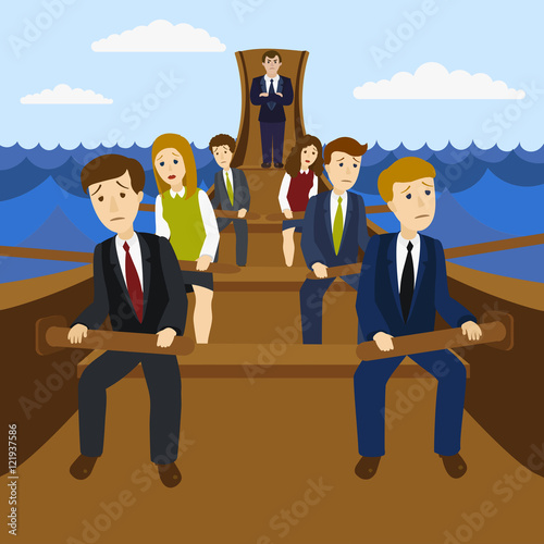 Office workers in the galley vector illustration Fototapeta
