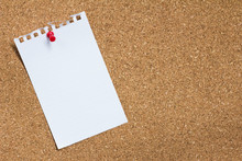White Paper Pin On Cork Board Background