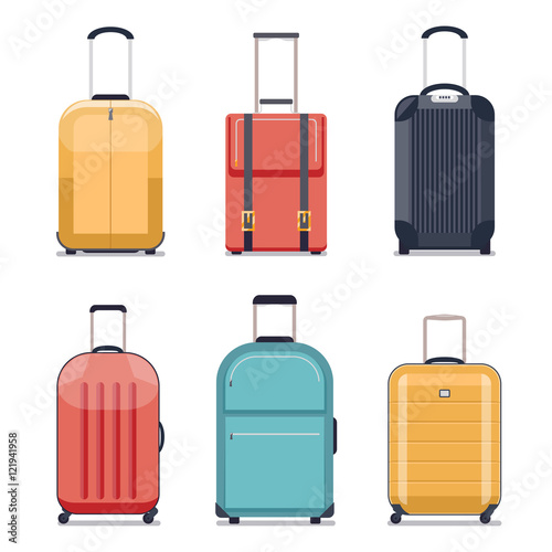 Photo Travel luggage or suitcase icons vector illustration