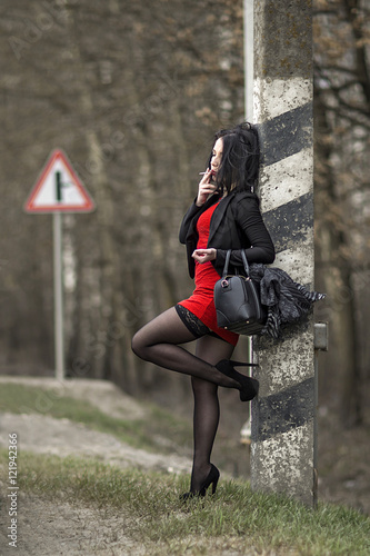 Fotomural Prostitute working on the road