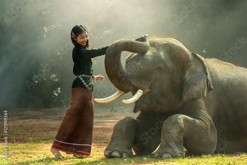Photo  Elephant with Asian girl