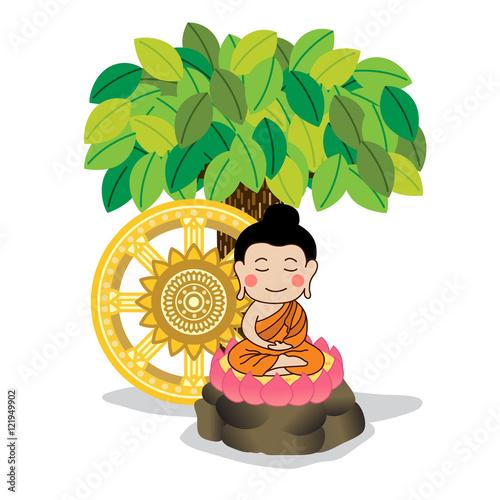 lord buddha meditating under the tree with dhamma wheel vector
