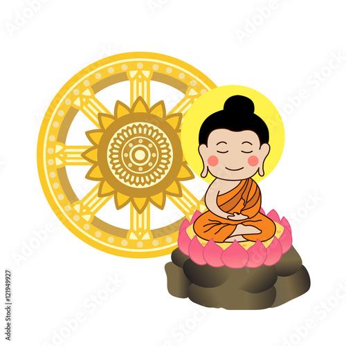 lord buddha meditating in front of dhamma wheel vector illustration