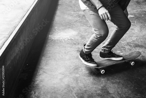 Skateboard Extreme Sport Skater Park Recreational Activity Conce Canvas Print