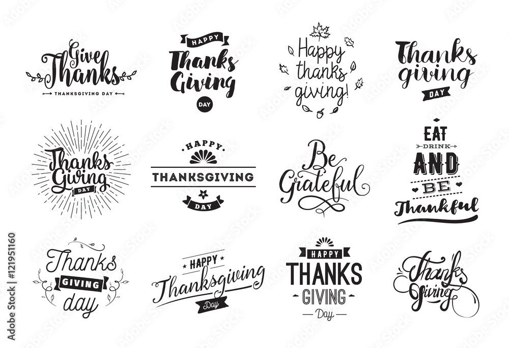 Zestaw typografii dzień Dziękczynienia. <span>plik: #121951160 | autor: pavector</span>