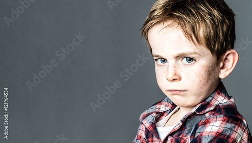 mad little boy to express his frustration, copy space