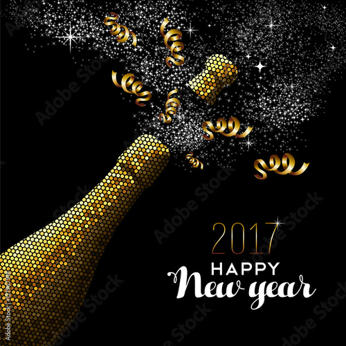 Poster  New Year 2017 gold drink bottle card design