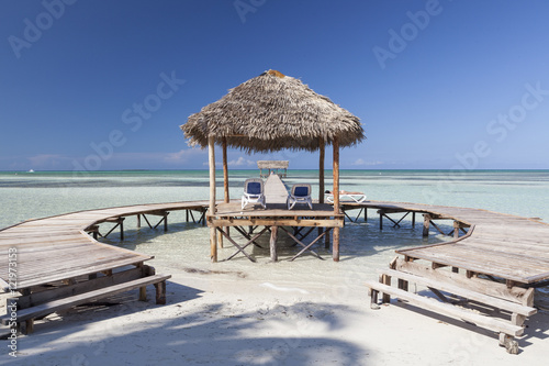 Wooden jetty in Cayo Guillermo, Cuba Poster