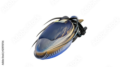 3d Illustration Of Organic Drone Design Or Alien Spacecraft For