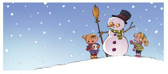 muñeco de nieve con niños jugando