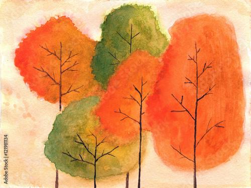 jesienne-drzewa-w-akwareli
