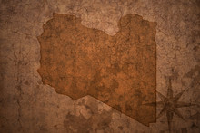 Libya Map On A Old Vintage Crack Paper Background