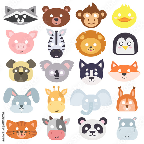 Staande foto Zoo Animals carnival mask vector set festival decoration masquerade. Party costume cute cartoon animals carnival mask. Festival head decoration isolated celebration animals carnival mask.