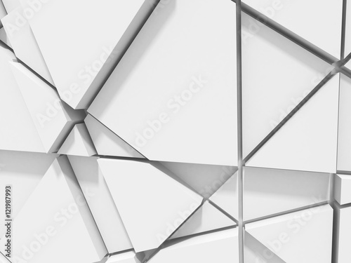 Abstract chaotic poligon pattern white wall background