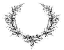 Laurel Wreath Vintage Baroque  Frame Border Monogram Floral Heraldic Shield Leaf Scroll Engraved Retro Flower Tattoo Black And White Vector