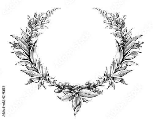 laurel wreath vintage Baroque frame border monogram floral heraldic ...