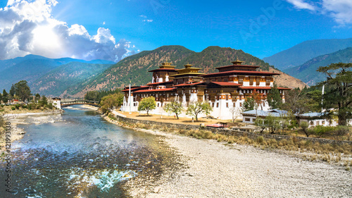 The Punakha Dzong Monastery in Bhutan Asia one of the largest monestary in Asiaw Wallpaper Mural