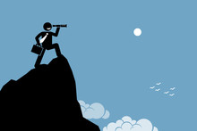 Businessman Looking Through A Telescope On A High Mountain Ground. Vector Artwork Depicts Ambition, Vision, Future, And Discovery.