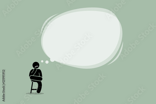 Thinking man sitting on a chair with a big empty bubble cloud Wallpaper Mural