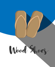 Wood Shoes Vector Template