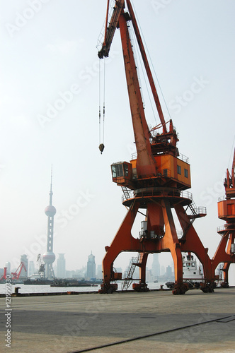 old crane in the harbor with Shanghai downtown skyline as background Poster